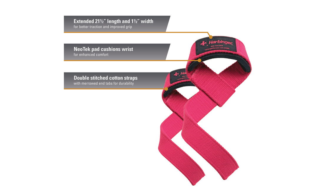 Pink Harbinger padded cotton lifting straps with product callouts