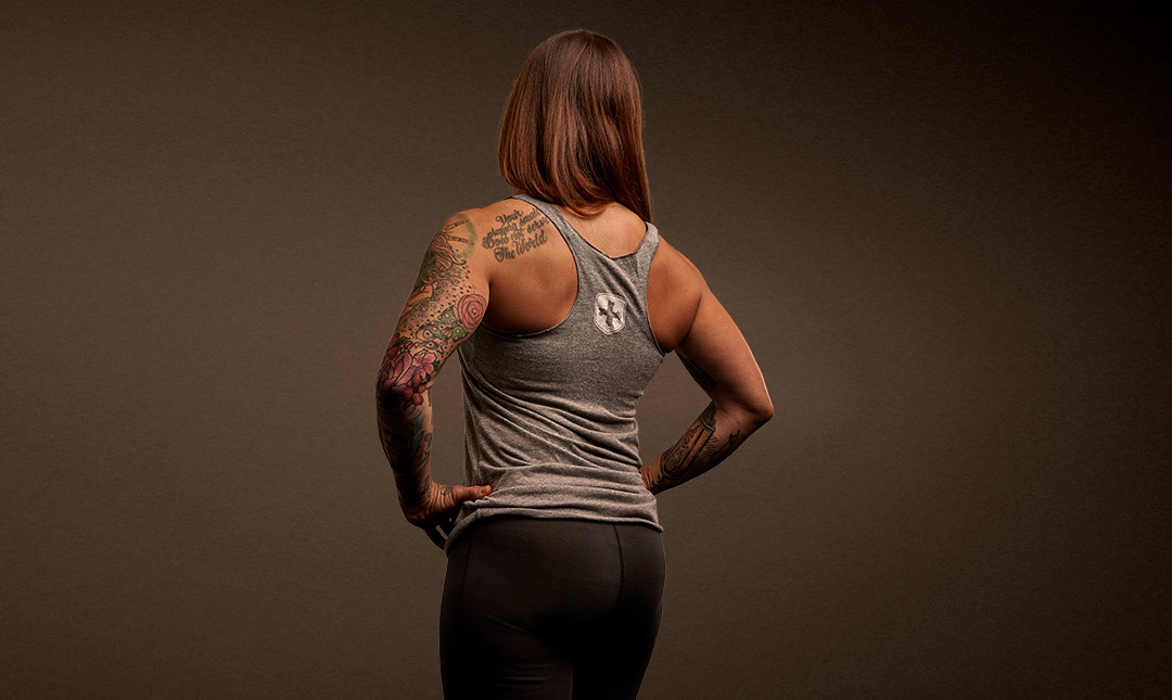 Rear view of Women's Racerback Tank